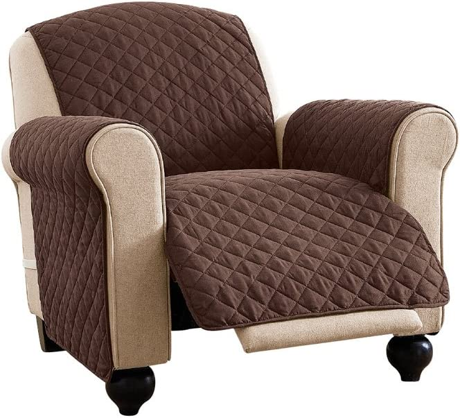 Reversible Spill Resistant Quilted Furniture Protector Cover with Ties - Covers Seat Bottom, Seat Back and 2 Seat Arms, Chocolate/Tan, Recliner