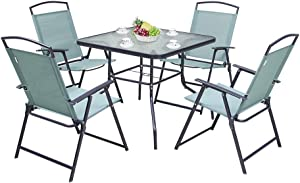 Pellebant 5PCS Patio Dining Set with Square Glass Table and 4 Folding Chairs for Garden, Pool, Backyard, Outdoor, Indoor, Park, Patio, Poolside, Green