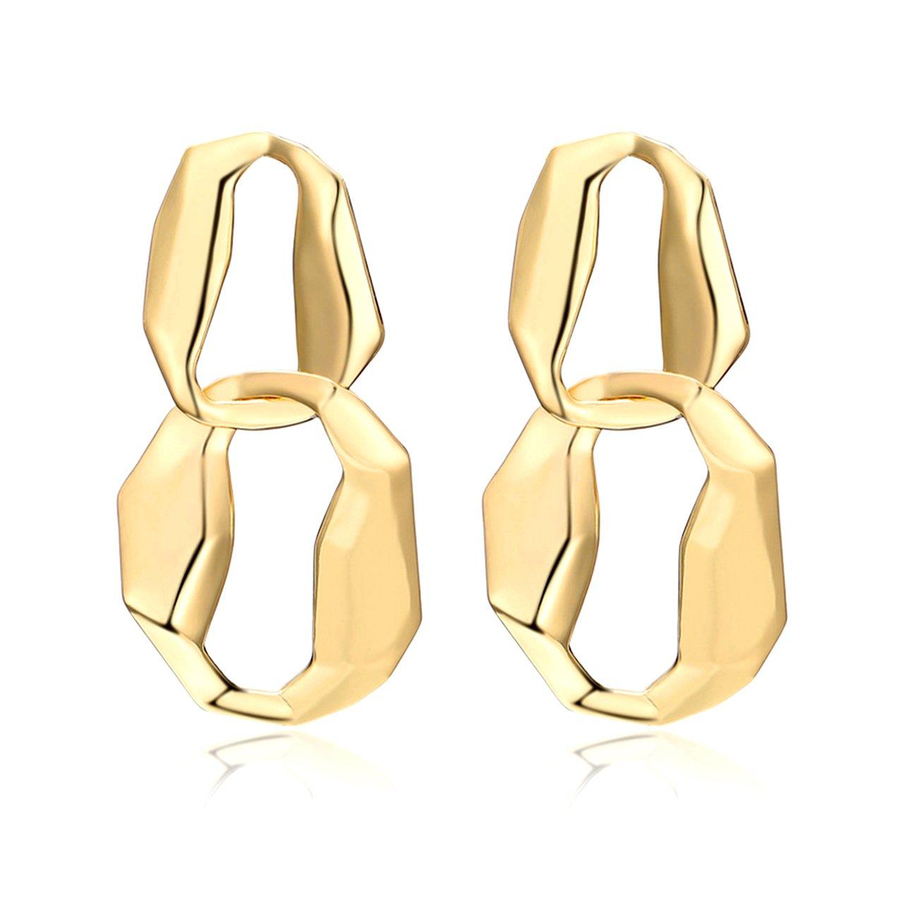 Geerier Double Link Earrings Gold Eight Statement Infinity Earrings for Girls