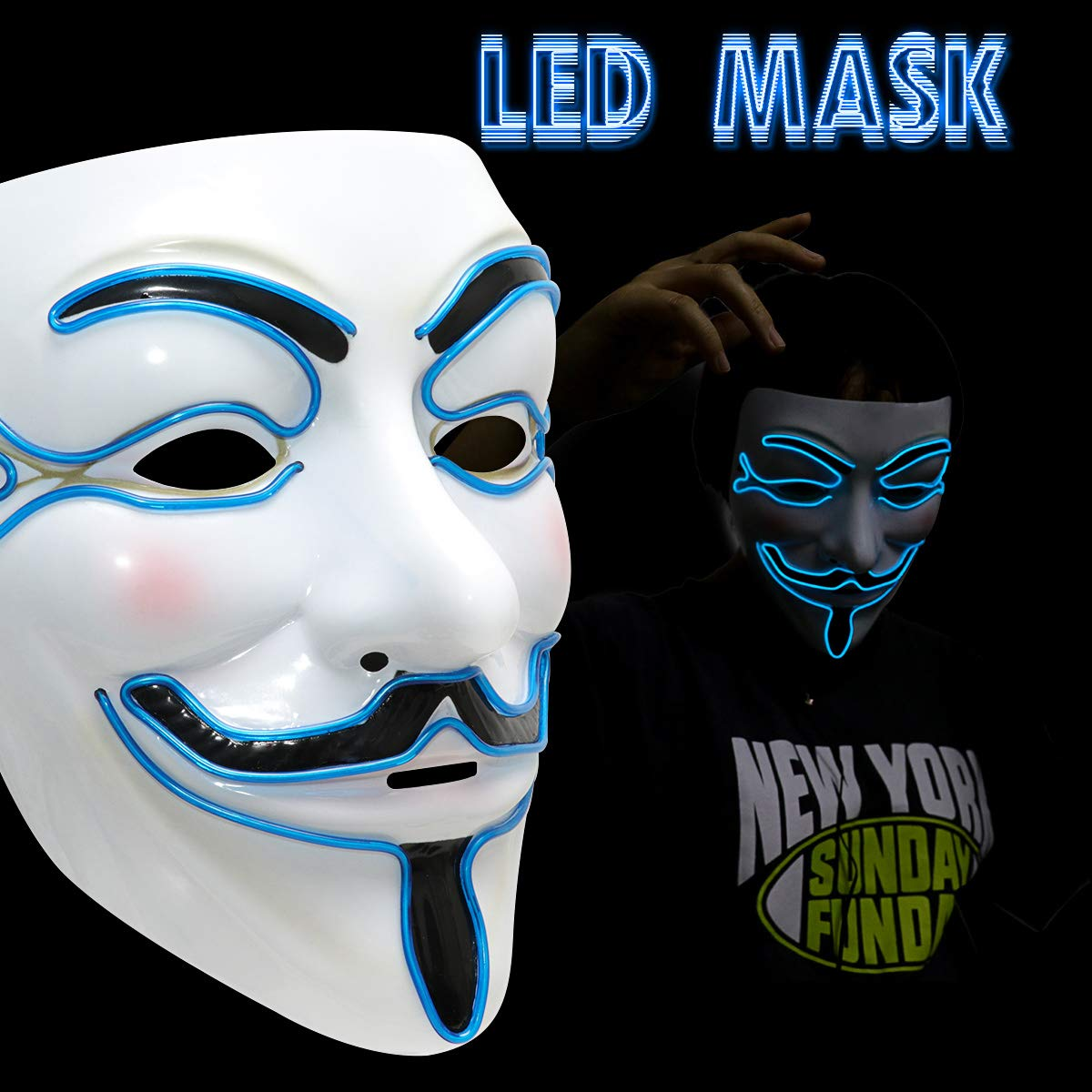 Supmaker Scary Mask Halloween Light Up Mask EL Wire V for Vendetta Cosplay Led Costume Mask Fawkes Anonymous for Festival Parties