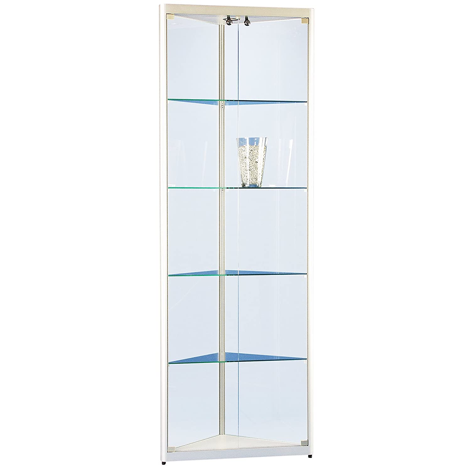 eckvitrine glasvitrine standvitrine sammlervitrine basic 500 alu glas beleuchtet abschlie bar. Black Bedroom Furniture Sets. Home Design Ideas