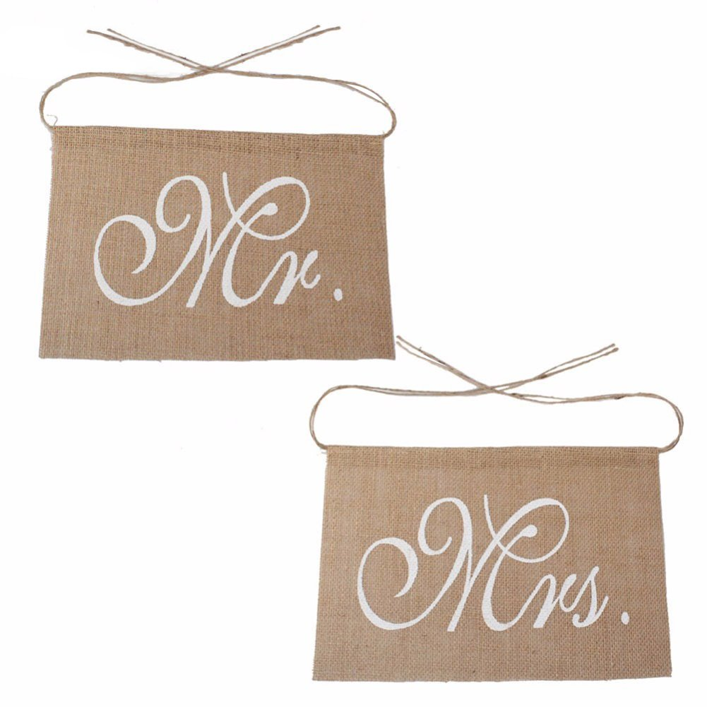 Beiguoxia Chaise Banderole Mr et Mrs Tag Guirlande de panneau en toile de jute rustique D/écoration de f/ête de mariage marron Taille unique