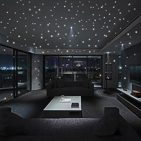 JiaMeng Glow In The Dark Star Pegatinas de Pared Dots and Moon Starry Sky Decoración de