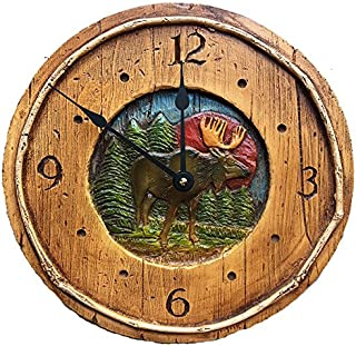 product image for Piazza Pisano Rustic Moose Cabin Decor Wall Clock