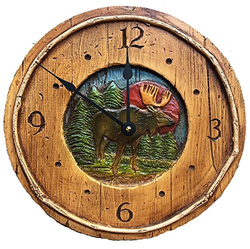 Piazza Pisano Rustic Moose Cabin Decor Wall Clock