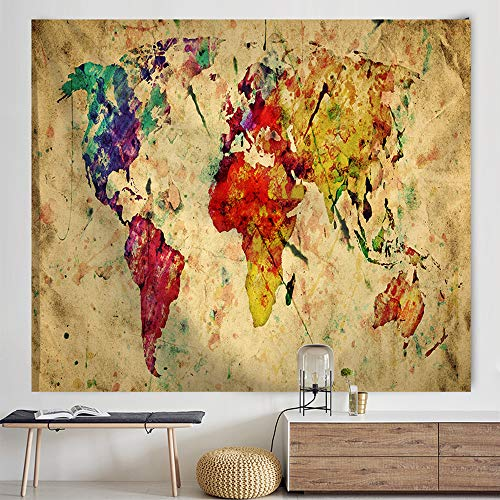 POTENCO Blankets, World Map Picnic Mat Medieval Educational Tapestry Wall Hanging Beach Towel (D, 150130cm)