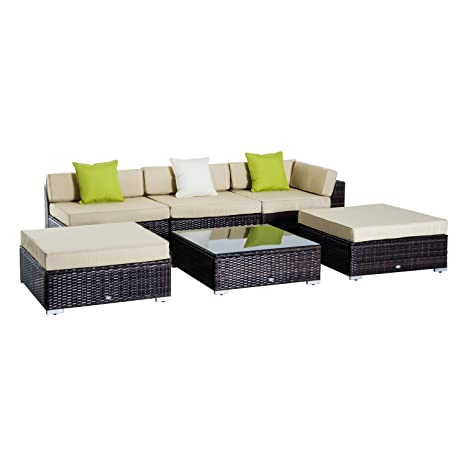 Peachy Outsunny 6 Pc Rattan Sofa Coffee Table Set Sectional Wicker Weave Furniture For Garden Outdoor Conservatory W Pillow Cushion Brown Cjindustries Chair Design For Home Cjindustriesco