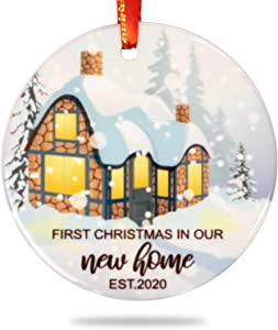 Creawoo Our First Christmas in Our New Home Ornament 2020, Housewarming Gift Xmas Tree Decoration, Unique Christmas Ceramic Ornament