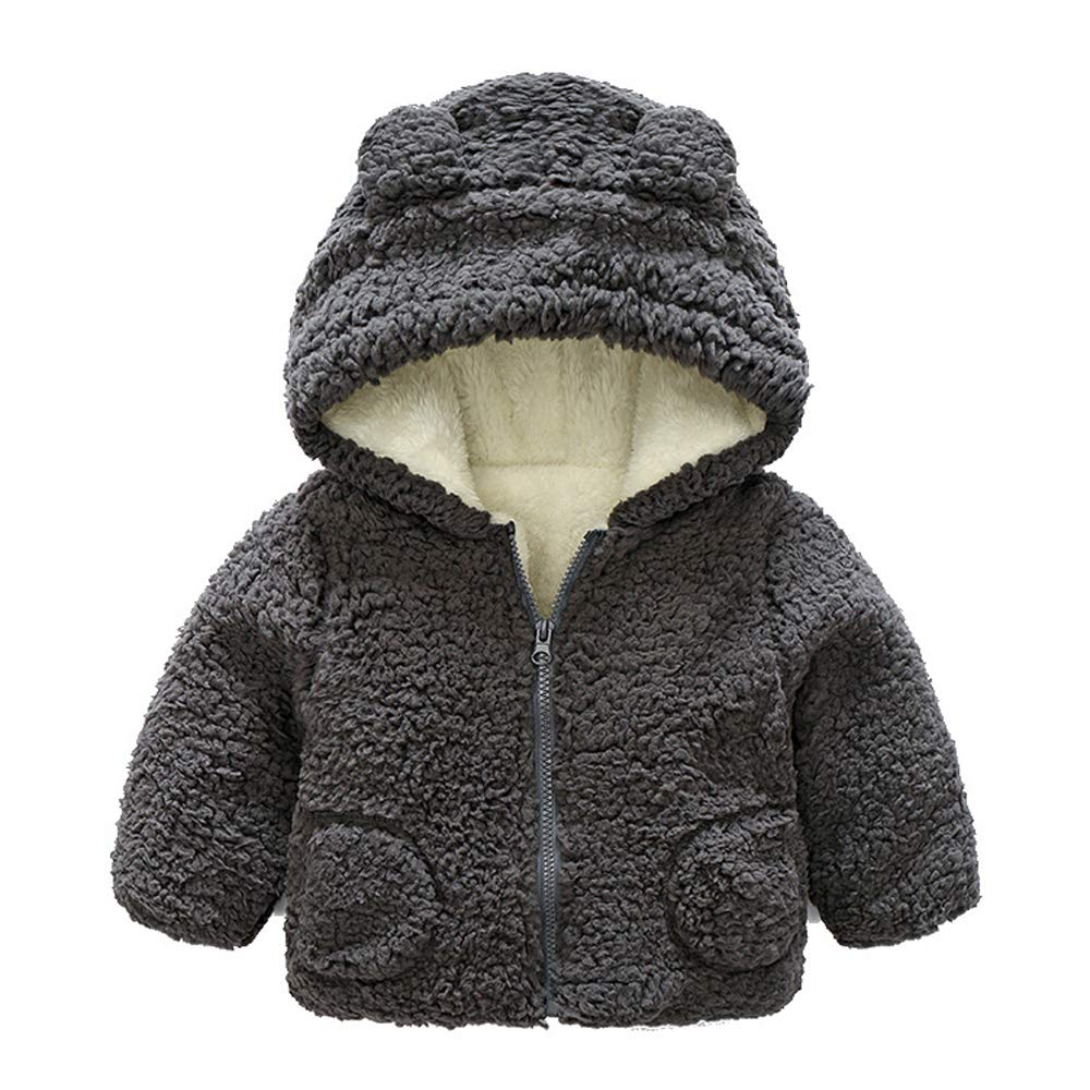 FOURSTEEDS Baby Boys Girls Fur Hoodie Winter Warm Coat Jacket Cute Bear Shape Thick Clothes