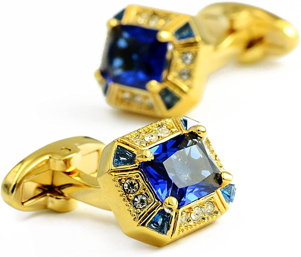 ENVIDIA Blue Luxury Crystal Gold Tuxedo Shirts Cufflinks Wedding Party Gifts with Box