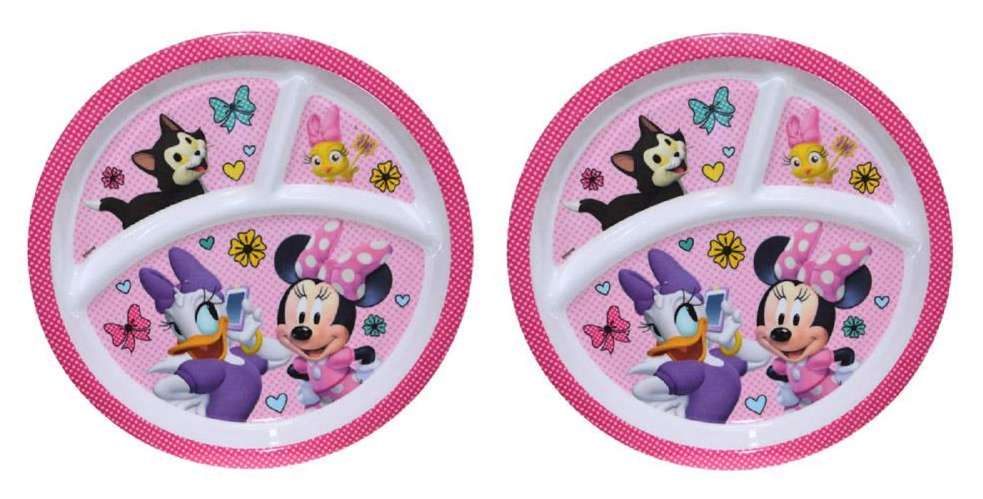 2-Pack Zak Designs Toddler Plate 3-Section 8 Round Dish Cars