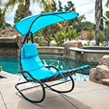 Belleze Hanging Rocking Lounge Chair Sun Shade Chaise Chair Powder Coated Arc Frame Padded Cushion Patio, Blue Review