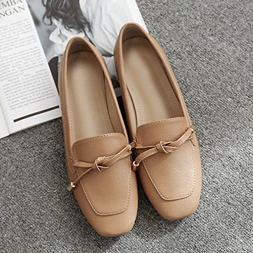 GIY Womens Classic Penny Loafers Slip-On Casual Low Flat Round Toe Comfort Dress Retro Oxford Shoes Brown 3HBwiZ26mz