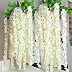e-joy-Artificial-Fake-Wisteria-Vine-Garland-Silk-Hanging-String-FlowerArtificial-Vine-Ratta-Silk-Hanging-Flower-Plant-for-Home-Garden-Wedding-Decor24pieces36-Feet-Each