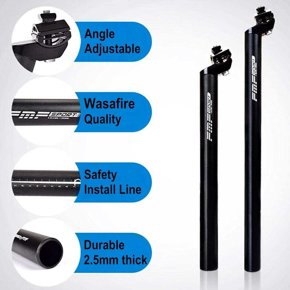 13.8inch 17.7inch and 450mm WasaFire Bike Seat Post Bicycle Aluminium Alloy with Micro Adjust Clamp /φ 25.4 27.2 28.6 30.4 30.8 31.6mm WASAGA 350mm