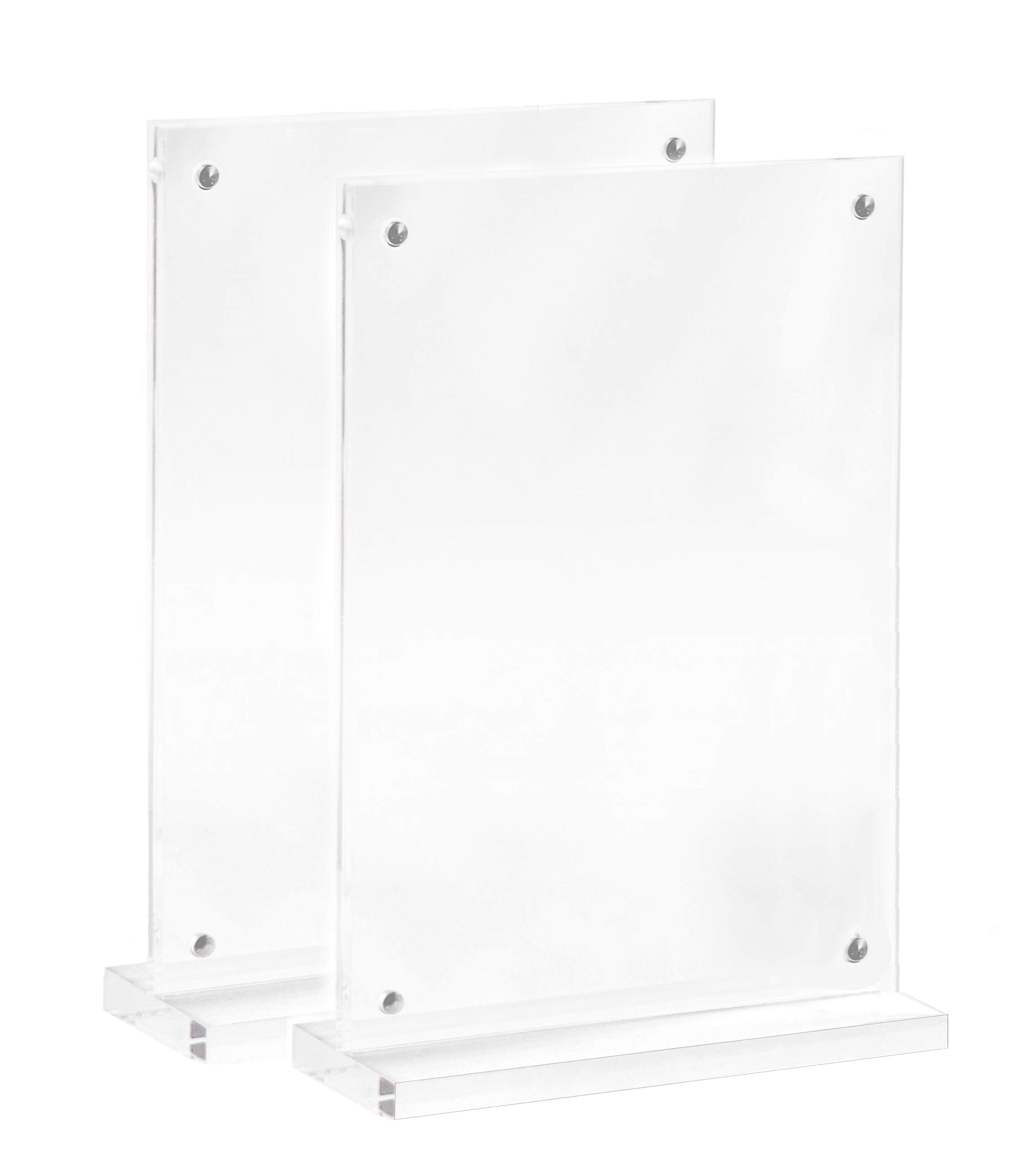 Sloan Creations 5x7 Magnetic Portrait T Shaped Acrylic Double Sided Desktop Photo Frame/Menu Holder/Sign Display (2)
