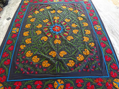 Handicraftofpinkcity Indo Uzbek Suzani Embroidered Bed Cover Bed Speared Queen Size Throw Tapestry Bed Cover with 2 Pillow Case