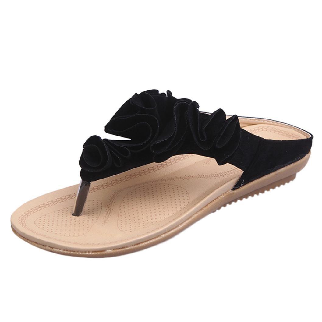 Inverlee Women's Summer Beach Flip Flops Casual Flat Shoes Lady Pretty Floral Sandals (Black, 8(US))
