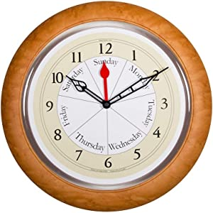 DayClocks Time & Day of The Week Wall Clock – Analog Clock with Time & Days of The Week – Home or Office Wall Clock with Days of The Week – Great Retirement Clock - 13.5' Maple Accent Frame