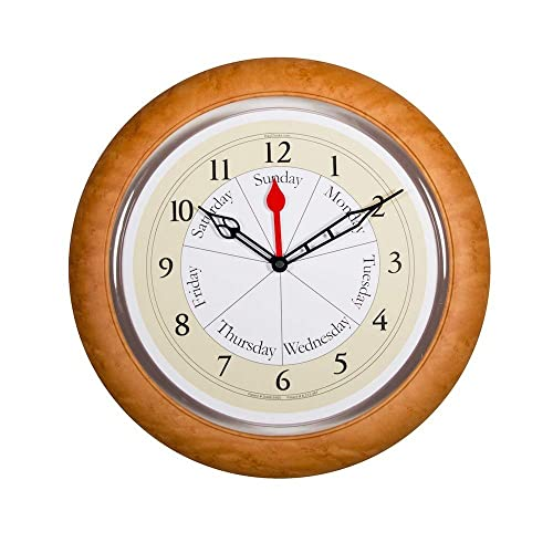 DayClocks Combination Analog Wall Clock Time of Day and Day of the Week Wall Clock Unique Kitchen Wall Clock — Maple Accent Frame