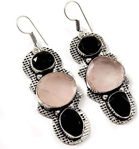 Set of pierced earrings sterling silver rose quartz onyx 17 necklace