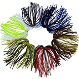 JSHANMEI 50 Strands Mixed Color Silicon Skirts Fishing Lure Squid Skits for DIY Spinnerbait Buzzbaits Blade Rubber Jigs Lure Trap Fly Tying Material Replacement Lure Craft