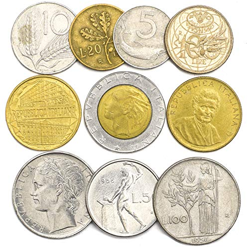 10 Mixed Italy Italian Coins Lira Lire Repubblica Italiana 1946-2001 Pre-Euro Coins. Perfect Choice for Your Coin Bank, Coin Holders and Coin Album (Old Italian Coins)
