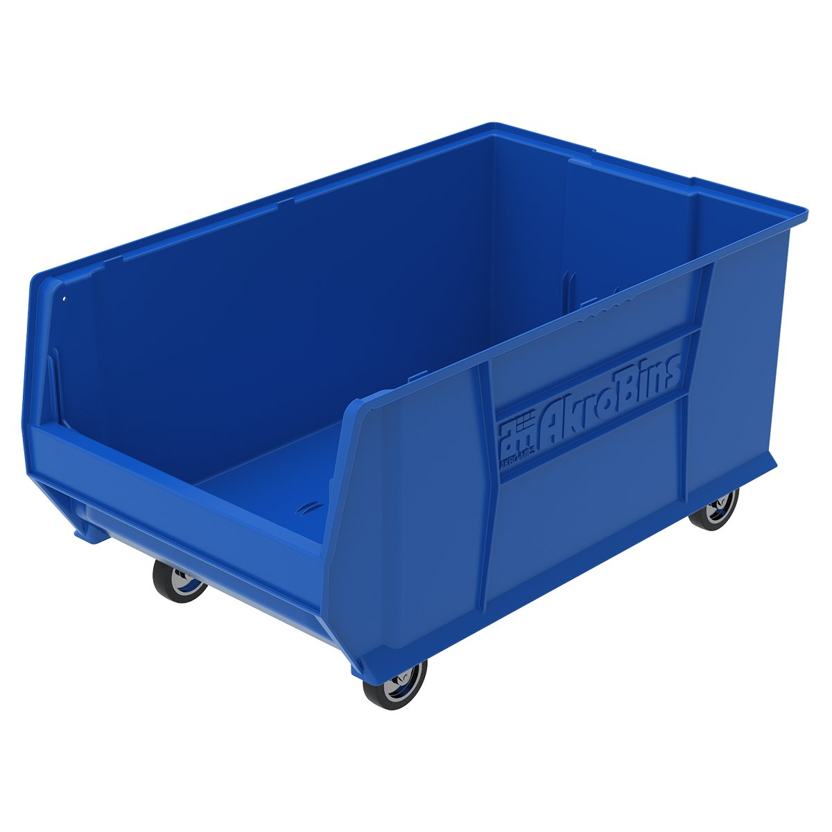 Akro-Mils 30290 Mobile Super Size Plastic Stacking Storage Akro Bin, 29-Inch x 18-Inch x 12-Inch, Blue