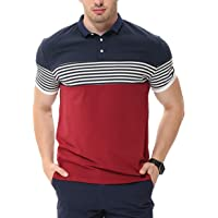 fanideaz Men's Cotton Red Half Sleeve Striped Polo T Shirt with Collar