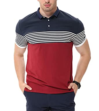 7f98010bad3 fanideaz Men s Cotton Red Half Sleeve Striped Polo T Shirt with Collar   Amazon.in  Clothing   Accessories