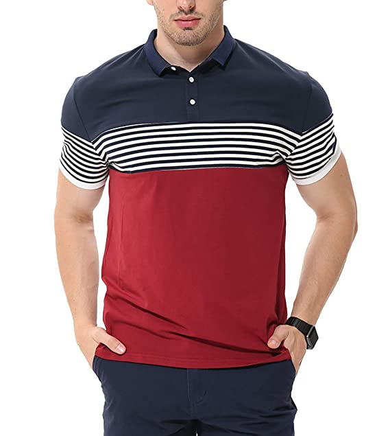 6be1562c7c2 fanideaz Men s Cotton Red Half Sleeve Striped Polo T Shirt with Collar   Amazon.in  Clothing   Accessories