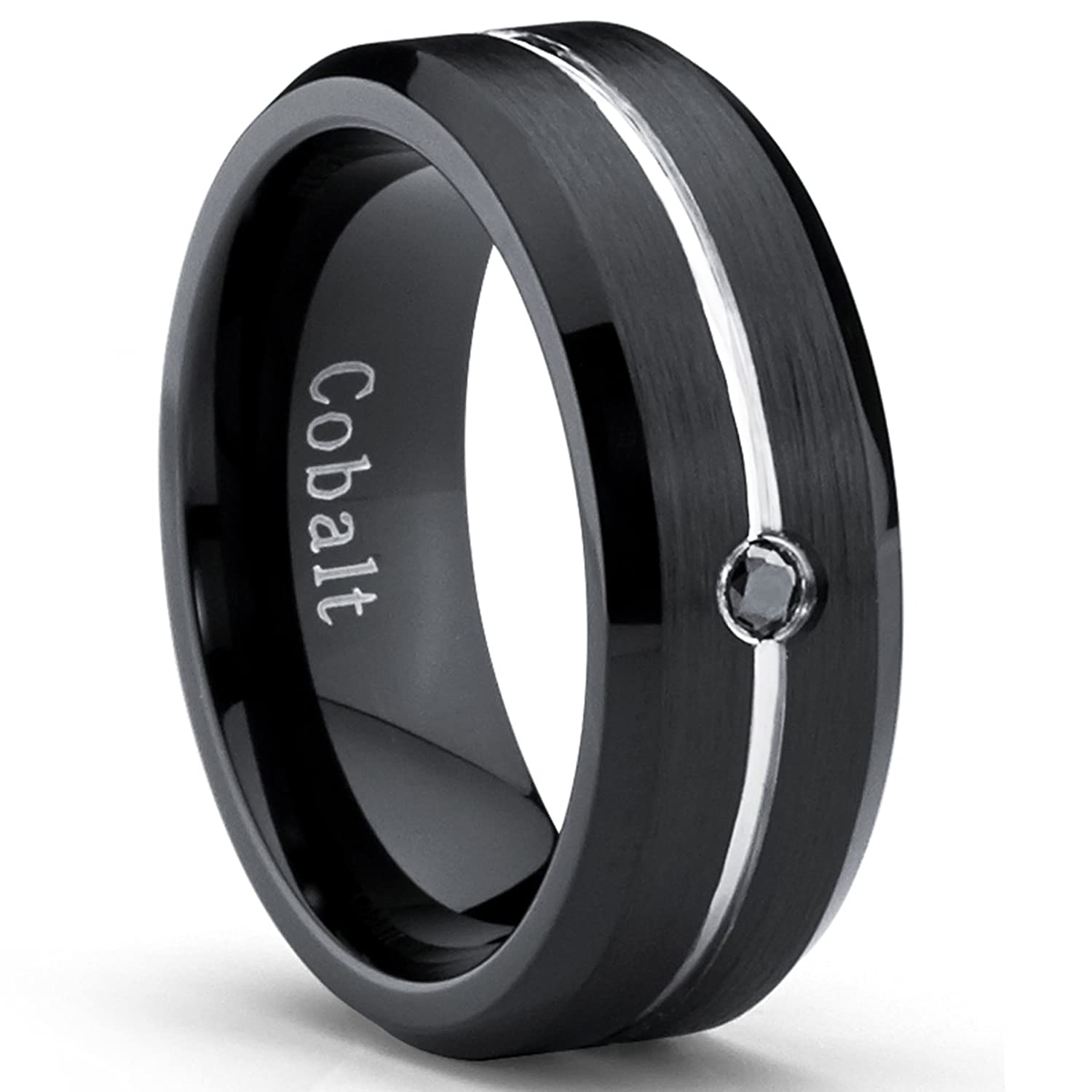 Two Tone Black Cobalt Mens Wedding Band Ring With 004 Real Black