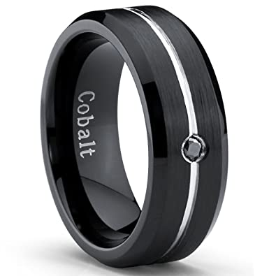 Metal Masters Co Two Tone Black Cobalt Men S Wedding Band Ring With