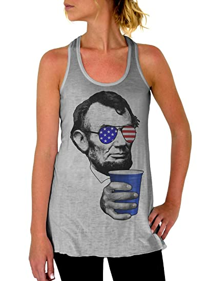 a35123fb2bb42 Dentz Design 4th of July Shirt Abraham Lincoln Drinking Cup Flowy Tank Top  at Amazon Women s Clothing store