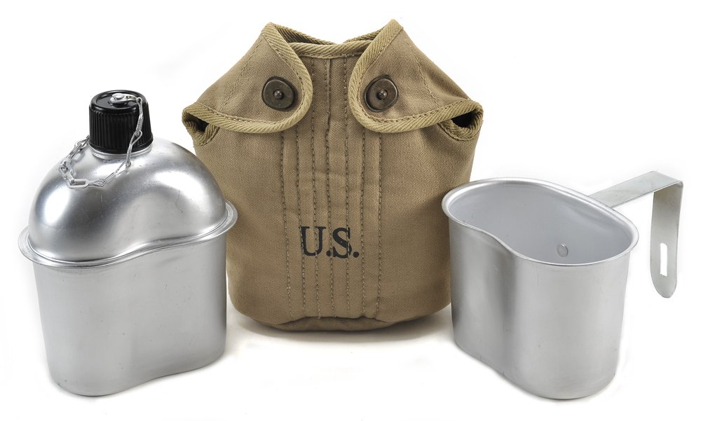 World War Supply U.S. WW2 Canteen, Khaki Canteen Cover and Canteen Cup Repro