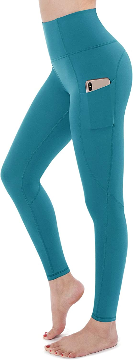 STYLEWORD Womens Yoga Pants with Pockets High Waist Workout Leggings Running Pants(Blue-018C,M)