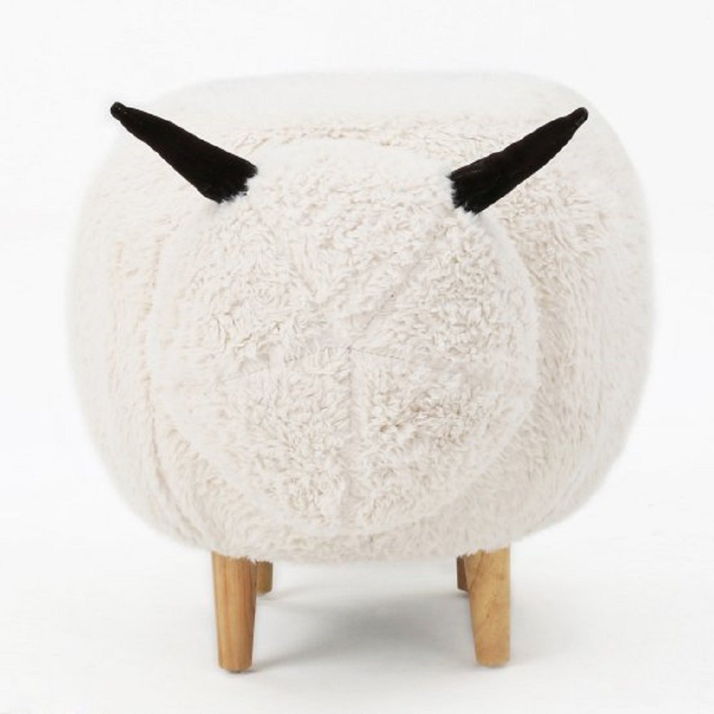 Kids Bench Sheep Plush Animal Shape Indoor Ottoman Chair for Children, Comfortable Velvet Upholstery Seating with Natural Rubberwood Legs, 30.5W x 17.5D x 17.5H inches, White + Free Ebook