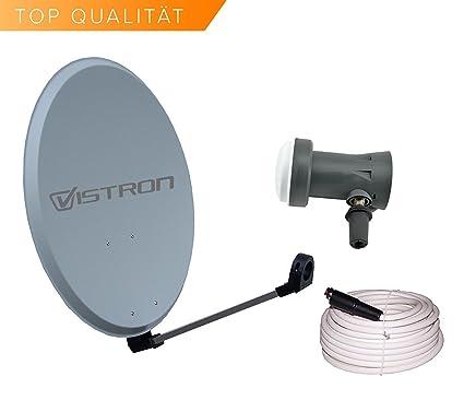 Vistron – Antena parabólica y 45 cm Con Sharp LNB 20 m Cable coaxial y 4