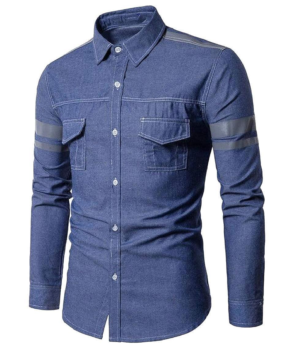 Hajotrawa Mens Trendy Long Sleeve Button Front Denim Spread Collar Shirts