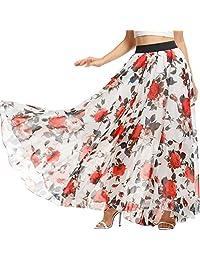 Meaneor Women's Floral Chiffon Maxi Skirt Retro Polka Dot Flowy Long Beach Dress