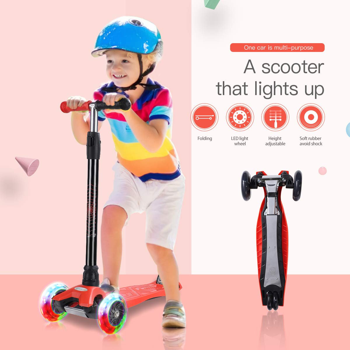 WonderView Kick Scooter for Kids 3 Wheel Scooter,4 Height Adjustable PU Wheels with Extra Wide Deck Best Gifts for Kids, Boys and Girls (Black)