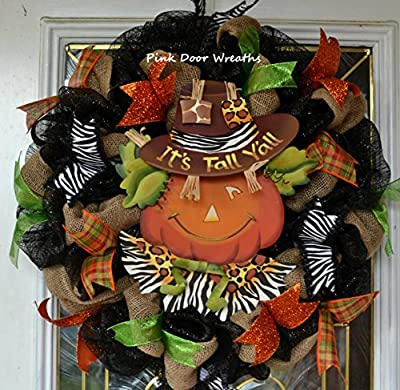 Fall Thanksgiving Scarecrow Deco Mesh Wreath; Its Fall Y'all; black burlap orange green yellow animal print