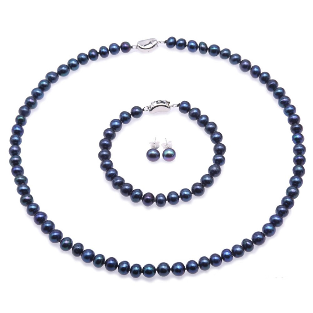 JYX Pearl 6-7mm Blue Freshwater Cultured Pearl Necklace Bracelet and Earrings Jewelry Set FPS101