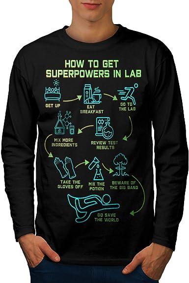 Wellcoda Geek del Laboratorio de Química Hombre Camiseta de Manga Larga Superpotencia Diseño gráfico Negro L: Amazon.es: Hogar