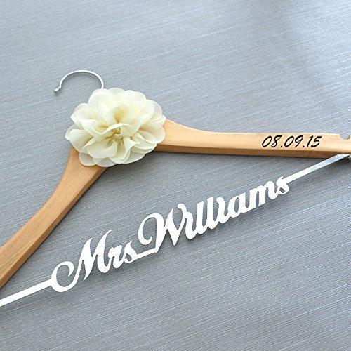Custom Wedding Hanger With Flower Personalized Dress Bridal