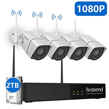 Security Camera System Wireless,Firstrend 1080P Full HD Video Security System with 4PCS 1080P IP Security Camera Indoor Outdoor 65FT Night Vision with 2TB Hard Drive