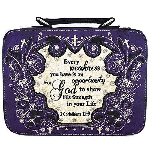 (Western Style Embroidery Scripture Cross Country Women Rhinestone Bible Cover Book Case Crossbody Handbag (#2 Purple))