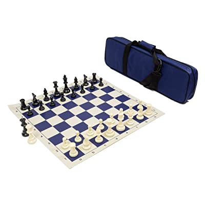 Heavy Tournament Triple Weighted Chess Set Combo - Navy Blue: Toys & Games