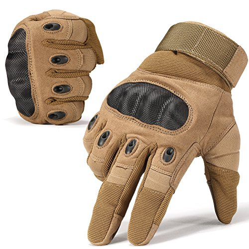 JIUSY Army Military Tactical Touchscreen Hard Knuckle Full Finger Gloves for Outdoor Motorcycle Cycling Racing Hunting Hiking Airsoft Paintball Shooting Work Size Medium Brown