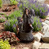 Go Yard Boy and Girl Water Outdoor Fountain